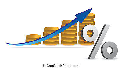 coins graph with percentage symbol illustration design