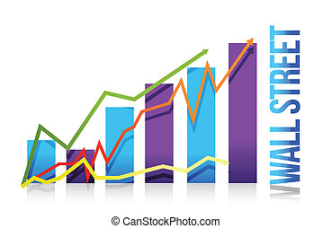 wall street business graph illustration design over white