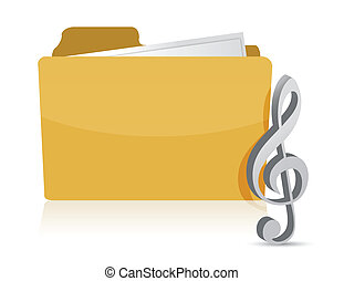 folder music illustration design over white background