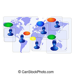 Blue world map with blue people communicating