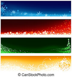 Christmas Banner Set - Xmas Illustration, Vector