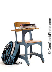 Empty School Desk with supplies - School desk with...