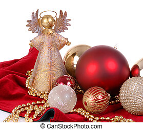 Christmas Ornaments with angel tree topper - Christmas...