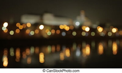 night Kremlin Embankment  bokeh