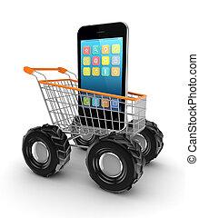 moderno, móvil, teléfono, compras, tranvía