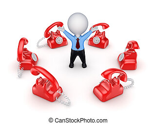 Red vintage telephones around 3d small person.Isolated on...