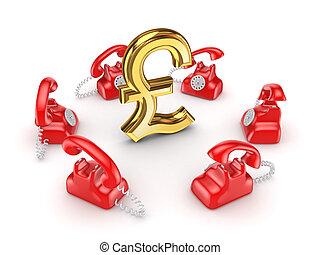 Retro telephones around golden pound sterling.