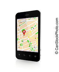 Modern mobile phone with GPS navigator.Isolated on white...