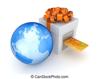 Credit card inserted in a gift boxIsolated on white...