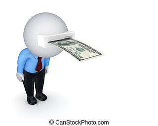 3d small person with banknote in a headIsolated on white...