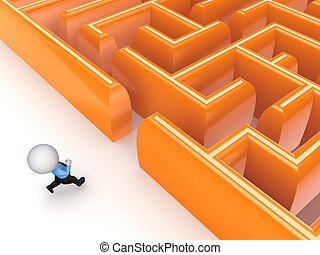 3d small person running to a labyrinthIsolated on white...