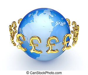 Pound sterling signs around EarthIsolated on white...