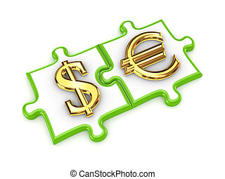 Merged puzzles with dollar and euro symbols.