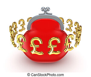 Golden pound sterling signs around red purse.