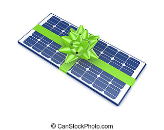 Solar battery decorated with a green ribbon.Isolated on...