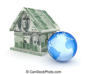 Small house made of money and a globe.