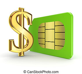 Dollar sign and sim card.Isolated on white background.3d...