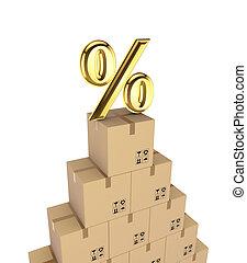 Percent symbol on a carton boxes.