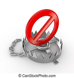 Red stop symbol on iron trapIsolated on white background3d...