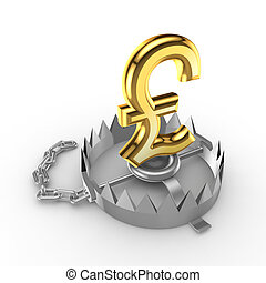 Golden pound sterling sign on a trap - Golden pound sterling...