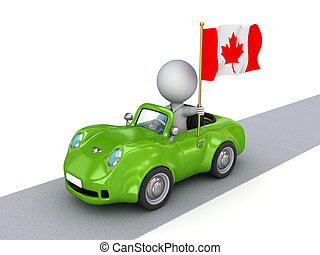 3d small person on orange car with Canadian flag.