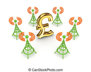 Stylized antennas around pound sterling sign.