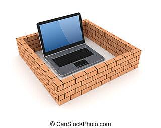 Notebook behind brick wallIsolated on white background3d...