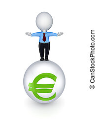 3d small person on a sphere with euro signIsolated on white...