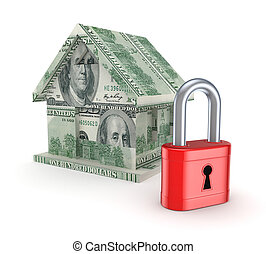 3d small house made of dollars and red lock.Isolated on...