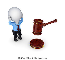 Stressed 3d small person and lawyer's hammer.