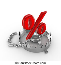 Percent symbol on a trap.