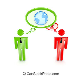 3d small people with globe symbol and red cross mark.