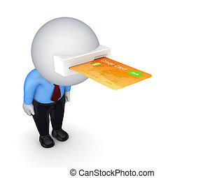3d small person with a credit card in a head.Isolated on...