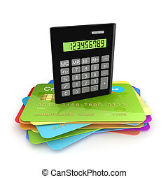 Calculator on a colorful credit cardsIsolated on white...