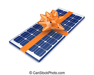Solar battery decorated with an orange ribbon.Isolated on...
