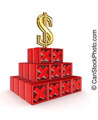 Financial pyramid concept.