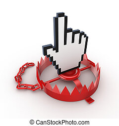 Cursor on a red trap.Isolated on white background.3d...
