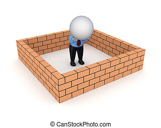3d small person behind brick wall.Isolated on white...