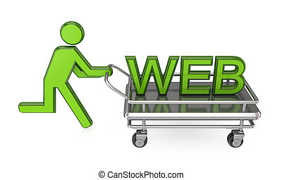 3d small person with a pushcart and big word WEB.