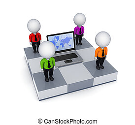Notebook and 3d small people on chessboard.