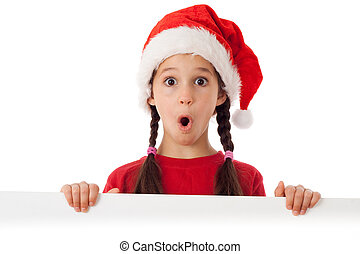 Girl in Christmas hat with empty banner - Surprised girl in...