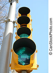 Green Traffic Light - Green traffic light on metal pole