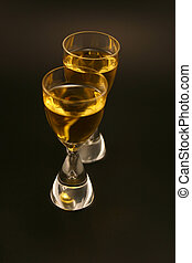 Cordials - Two cordials with gold liquid