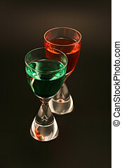 Holiday Cordials - Two cordials with red and green liquid