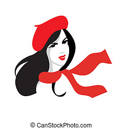 Beauty vector of girl in red beret - Vector illustration of...
