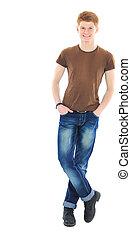 handsome young man in casual clothes standing