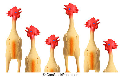 Toy Rubber Chickens on White Background