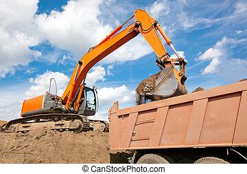 Backhoe loading a dump truck