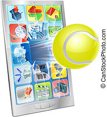 Tennis ball flying out of cell phone - Illustration of a...