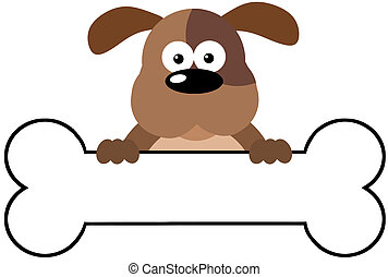 Cartoon Dog Over A Bone Banner - Cartoon Brown Dog Over A...